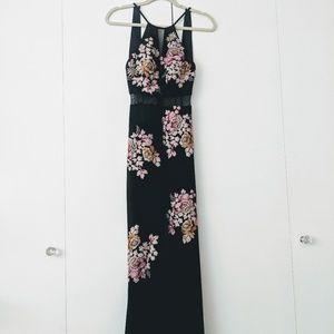 XSCAPE Embellished Floral Halter Gown